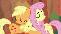 Applejack and Fluttershy hugging S8E2
