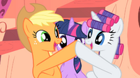 Applejack and Rarity high-hoof S1E08