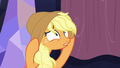 Applejack exhaustedly pulling on her hat S7E14.png