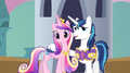 Cadance, Shining Armor, and Twilight on bridge S2E25.png