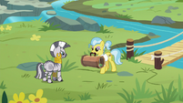 Dr. Fauna approaches Zecora with carrier S9E18