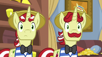 Flim and Flam stare blankly at Twilight S8E16
