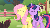 Fluttershy and Twilight laughing S01E17
