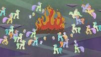 Hippogriffs around a ceremonial fire S8E16