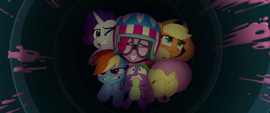 Main five and Spike inside the party cannon MLPTM