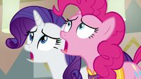 Pinkie Pie and Rarity watch in horror S6E12