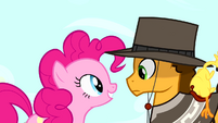 Pinkie Pie facing Cheese Sandwich S4E12