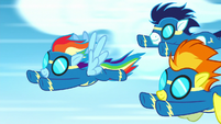 Rainbow Dash, Spitfire, and Soarin racing S8E18