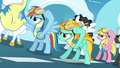 Rainbow Dash and Lightning Dust putting goggles on S3E7.png