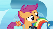 Scootaloo confused by Rainbow's frustration S7E7