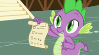 Spike holding his own checklist S7E15