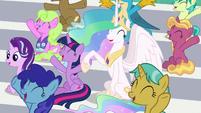 Twilight and Celestia cheering loudly S9E15