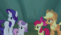 AJ, Rarity, and Crusaders look at Rainbow Dash S7E16.png