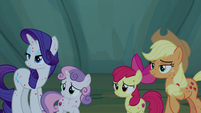 AJ, Rarity, and Crusaders look at Rainbow Dash S7E16