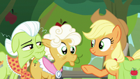 Applejack asking Goldie Delicious S9E10