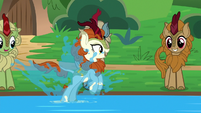Autumn Blaze splashing in the water S8E23