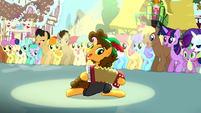 Cheese playing accordion while other ponies watch S4E12