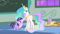 Filly Twilight and Celestia and Spike S1E23.png