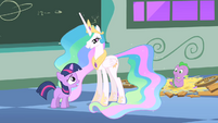 Filly Twilight and Celestia and Spike S1E23