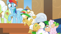 Goldie Delicious winking at Rainbow Dash S8E5