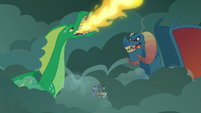 Green dragon bellowing fire breath S7E16