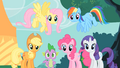 Main ponies group stare S1E26.png