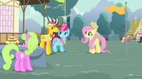 Mr. Cake complimenting Fluttershy S4E16