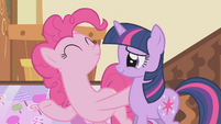 Pinkie Pie celebrating with Twilight S1E5