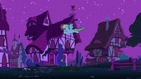 Rainbow flying through Ponyville at night S6E15