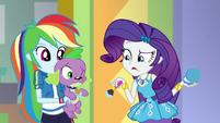 Rarity realizes she's putting makeup on Spike EGDS2
