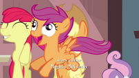 Scootaloo fluttering across to the left S3E4