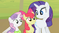 Sweetie Belle and Apple Bloom stand next to Rarity S2E05
