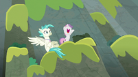 Sweetie Belle and Terramar on the cliffside S8E6