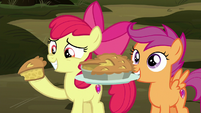 Apple Bloom and Scootaloo offering apple pie S8E10
