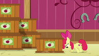 Apple Bloom pushing a crate of cider S6E23