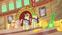 Applejack and Fluttershy approach Flim and Flam S6E20