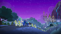 Celestia, Luna, and guards walk from Canterlot S8E26