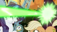 Fake AJ ducks under Chrysalis' magic beam S8E13