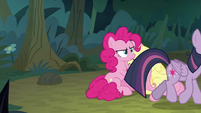 Fake Twilight trots past Pinkie and Fluttershy S8E13