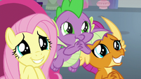 Fluttershy, Spike, and Smolder with pleading eyes S9E9