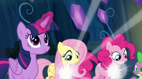 Fluttershy and Pinkie are given their Elements S9E1
