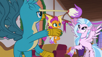 Gallus tossing his mop to Silverstream S8E16