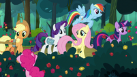 Pinkie's friends watch her roll in the flowers S8E13