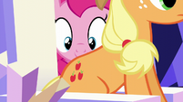 Pinkie inspects Applejack's cutie mark S5E22