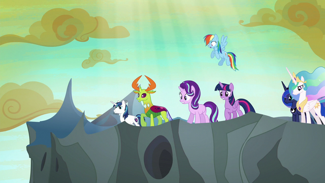 File:Ponies and Thorax look over the tower's edge S6E26.png