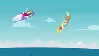 Rainbow Dash and Applejack surfing skillfully EGDS19