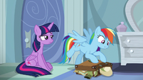 Rainbow excitedly packing her bags S6E13
