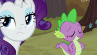 Rarity rolling her eyes at Spike S8E11