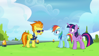 Spitfire angrily approaches Twilight and Rainbow S6E24