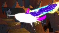 Stone pillar blasted by Chaos Cozy's magic S9E24